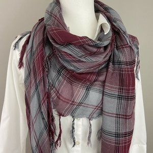 "D&Y Plaid Fringed 60"" Square Scarf Shawl"